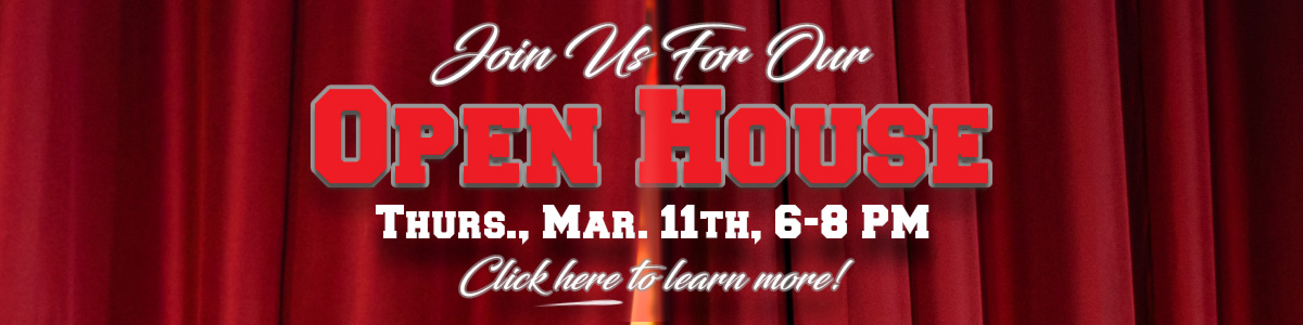 Join us for our open house, Thursday, March 11th, 6-8 pm. Click here for more information or to RSVP.